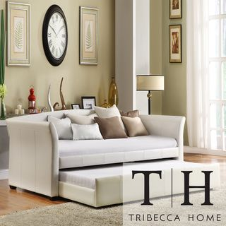 tribecca home deco white faux leather modern daybed with trundle by tribecca home