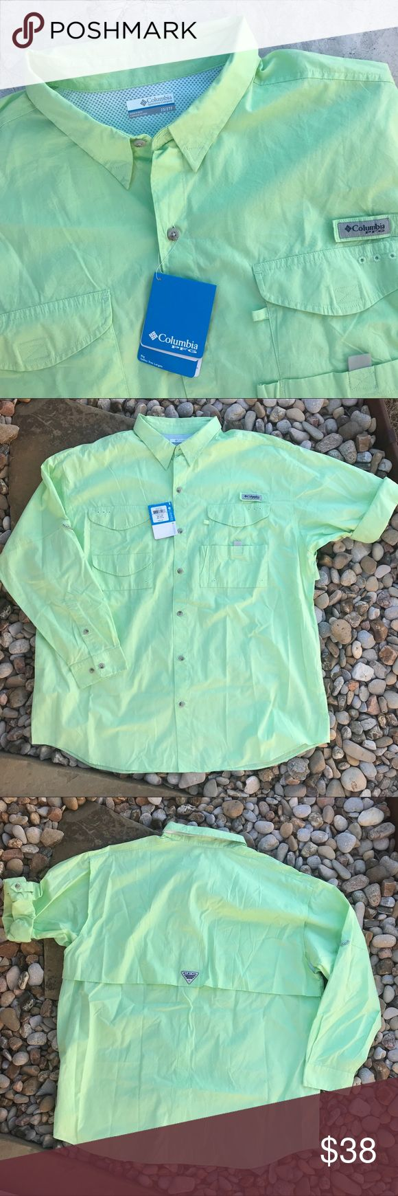 {XXL}Columbia PFG Men's Columbia PFG fishing shirt. Brand new with tags. Long sleeves with strap to roll them up. Beautiful mint green. Perfect for any outdoorsmen or fraternity guy! XXL in size. Columbia Shirts