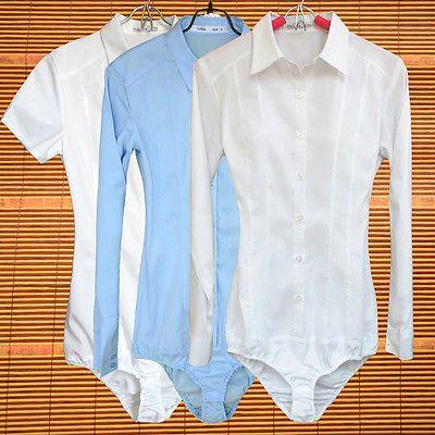 Ladies Bodysuit Shirt Blouse Button Down Short Long Sleeves Business Top Wear