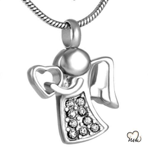 Stainless Steel Angel Cremation Urn Ash Holder Keepsake Pendant for Necklace
