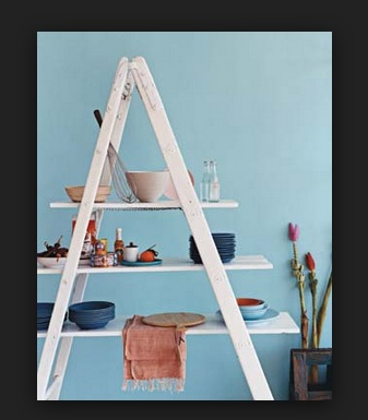 white ladder shelf