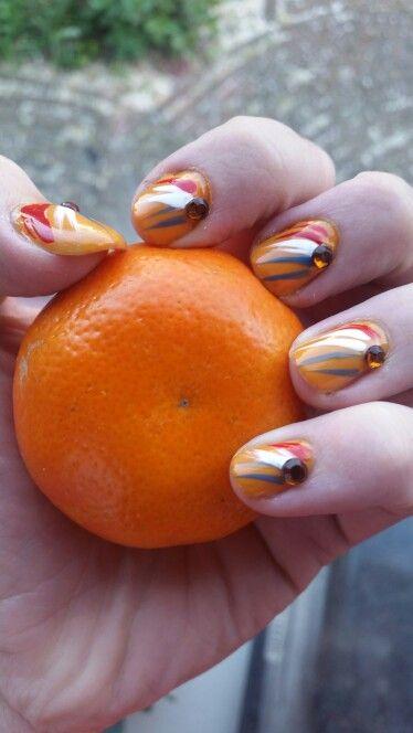 Koningsdag nail art. Koning dag nagels. Orange rood wit blauw. WK nagels.