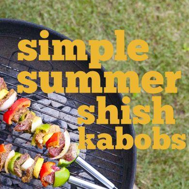 simple summer shish kabobs: Grilled Veggies, Shish Kabobs Seasons, Garlic Mushrooms, Onions, Summer Shish, Simple Shish, Summer Kabobs, Simple Summer, Baby Potatoes