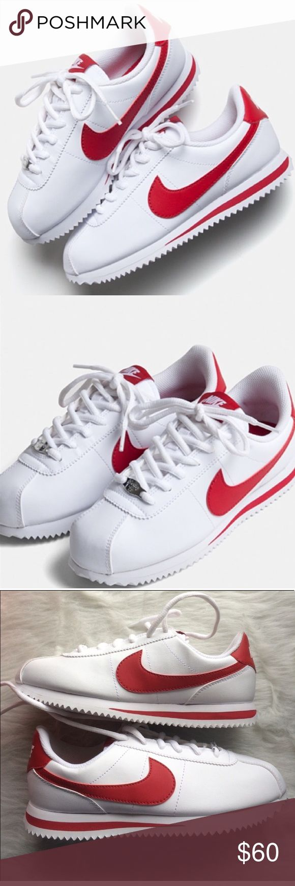NIKE CORTEZ WHITE RED SHOES SIZE 7 WOMENS Brand new without box. Size 5.5 youth which is a women's size 7 I have added a sizing chart for your Convenience. Nike Shoes Sneakers