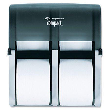 Georgia Pacific Professional Compact Four Roll Coreless Tissue Dispenser, 11 7/8 x13 7/8 x 7 1/2, Smoke, Multicolor