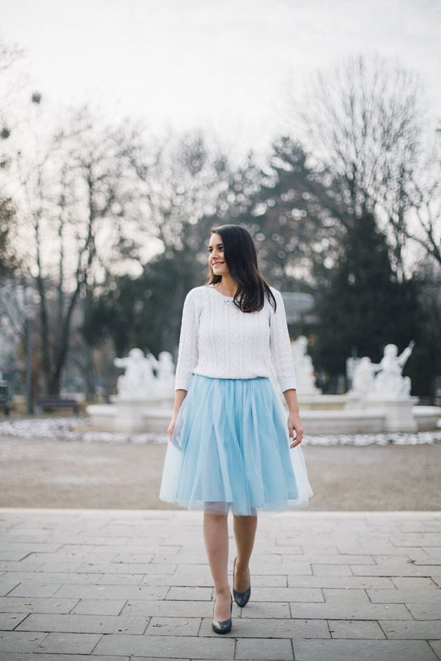 Winter tulle skirt outfit