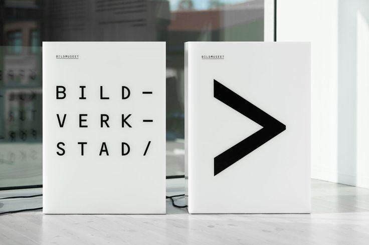 Interior signage by Stockholm Design Lab for Swedish University museum and contemporary arts centre Bildmuseet.