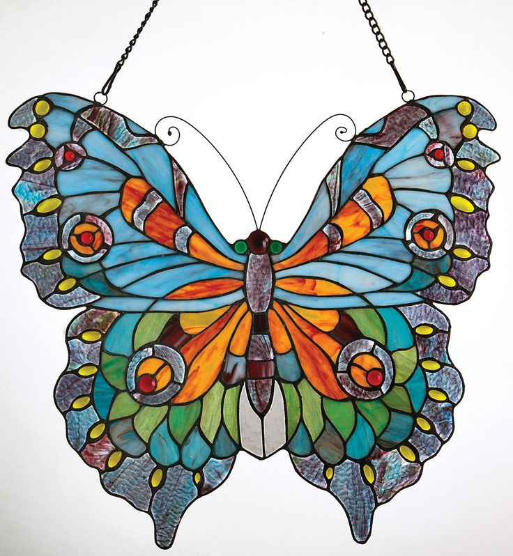 """Butterfly Stained Glass AcaciaLifestyle.com $130   151 pieces of art glass and 35 cabochons (dome-shaped glass) Joined with copper foil technique (adhesive copper tape and solder) Handmade Hanging chain included 20"""" x 22"""""""