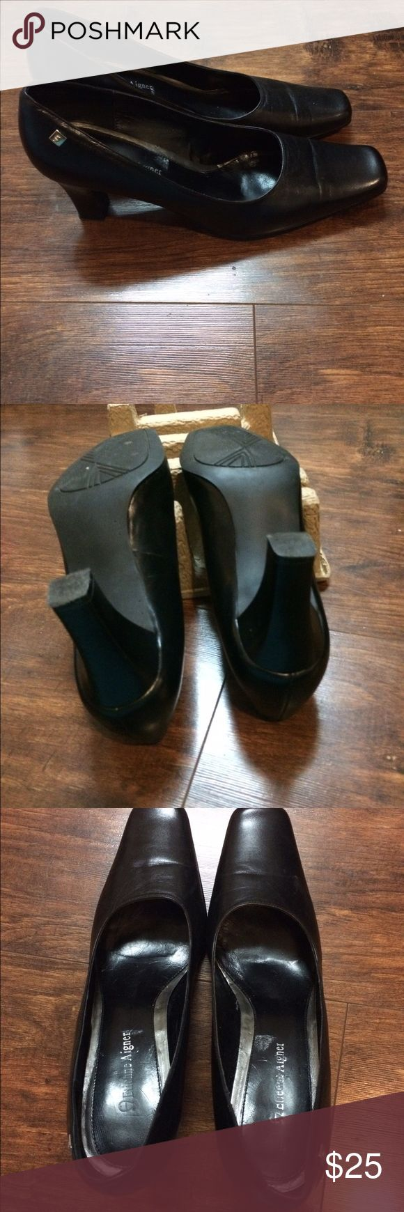 Etienne Aigner Black Leather Shoes Lightly worn, size 9, Etienne Aigner Black Leather Shoes Etienne Aigner Shoes Heels
