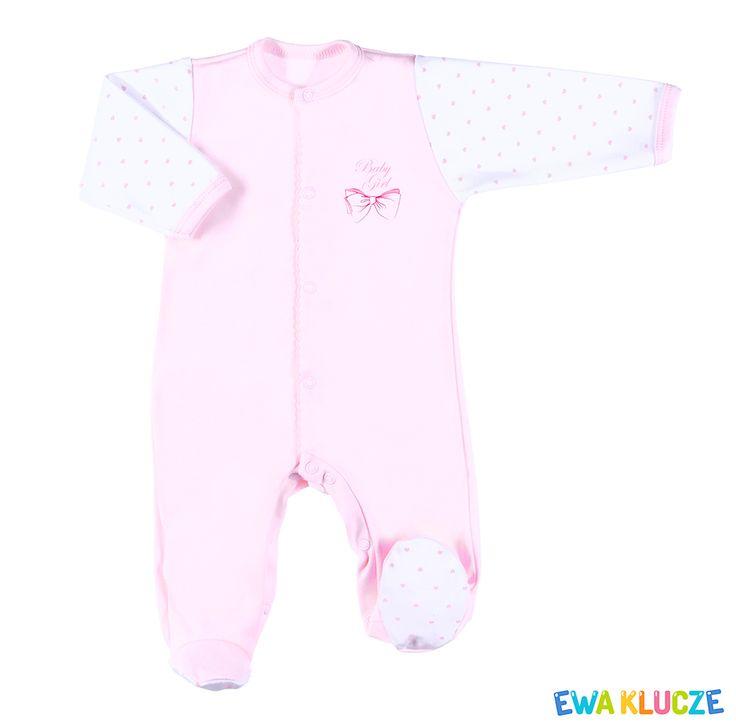 EWA KLUCZE, kolekcja CLASSIC BABY, różowy pajac dla dziewczynki, ubranka dla dzieci, EWA KLUCZE, CLASSIC BABY collection, pink baby girl sleepsuit, baby clothes