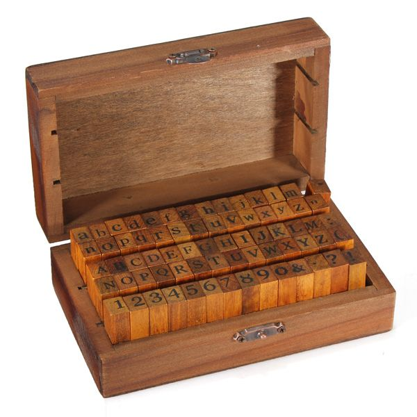 70PCS Number Alphabet Letter Wood Stamp With Wooden Box