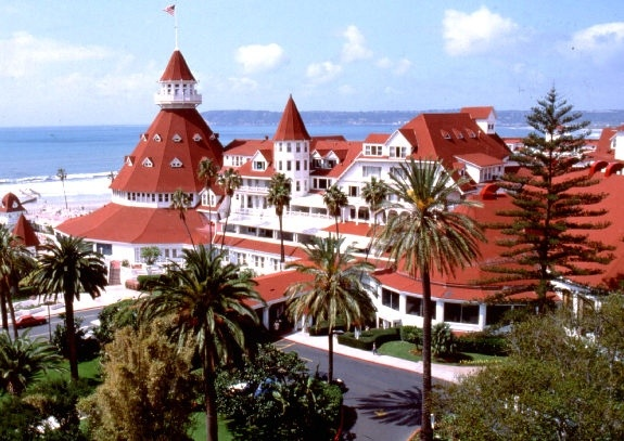 Hotel Del Coronado -  This San Diego hotel has a sad history. In 1892, a young woman checked into this luxury hotel on California's San Diego Bay to meet her husband. He never arrived, and a few days later, she was found dead on the hotel steps. Since then, guests and staff have noticed the pale figure of a young lady in a black lace dress.