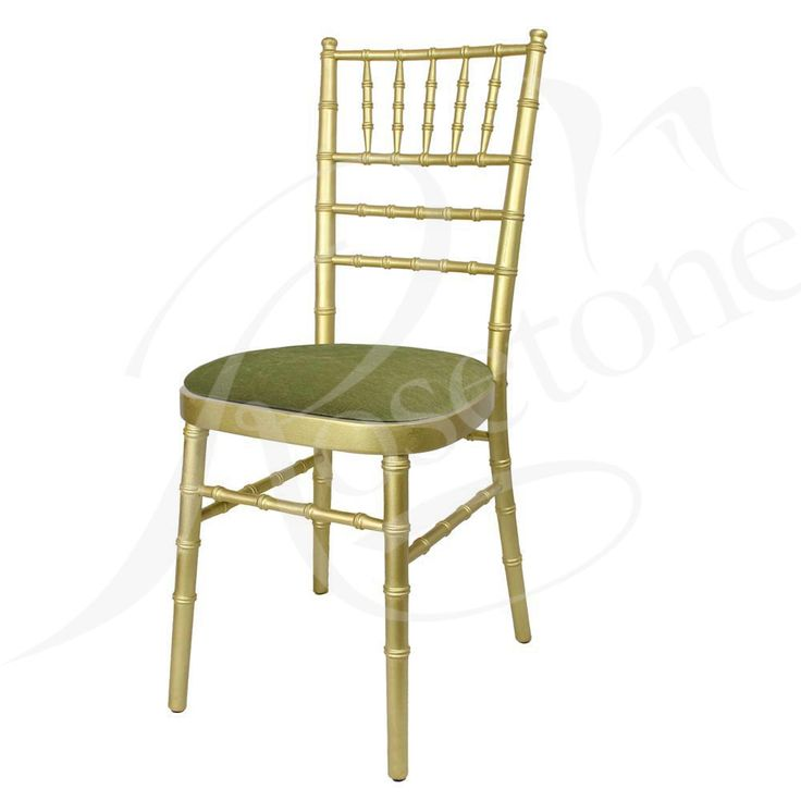 Gold Chiavari Wedding Chair with Sage Green Seat Pad