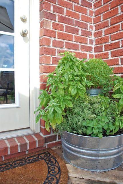 DIY multi-tier galvanized tub herb garden, via The Vintage Wren: Gardens Ideas, Back Doors, Doors Herbs, Galvanized Tubs, Front Doors, Herbs Gardens, You, Vintage Wren,  Flowerpot