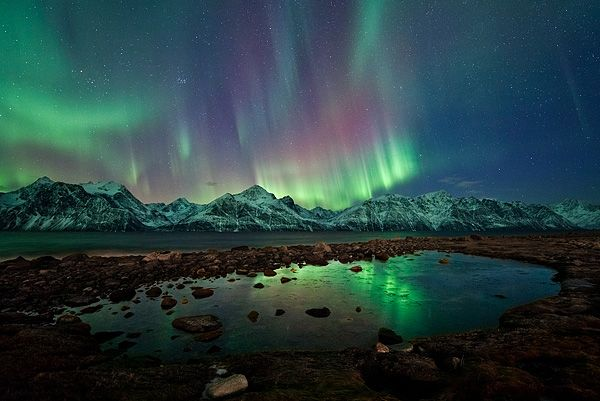 Northern lights dance over the Lyngan Alps (Tromsø, Norway - March 2012).