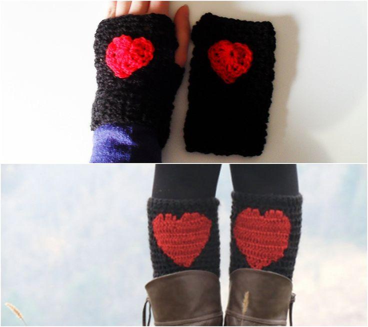 Um conjunto de 2 acessórios cheios de amor!As Mitenes protegem as mãos do frio e asMini-Perneiras impedem a entrada do frio pelas botas,aquecendo também a zona junto aos joelhos.Um conjunto em lã macia e quenteFeito à mão   PortuguêsAo comprar este conju