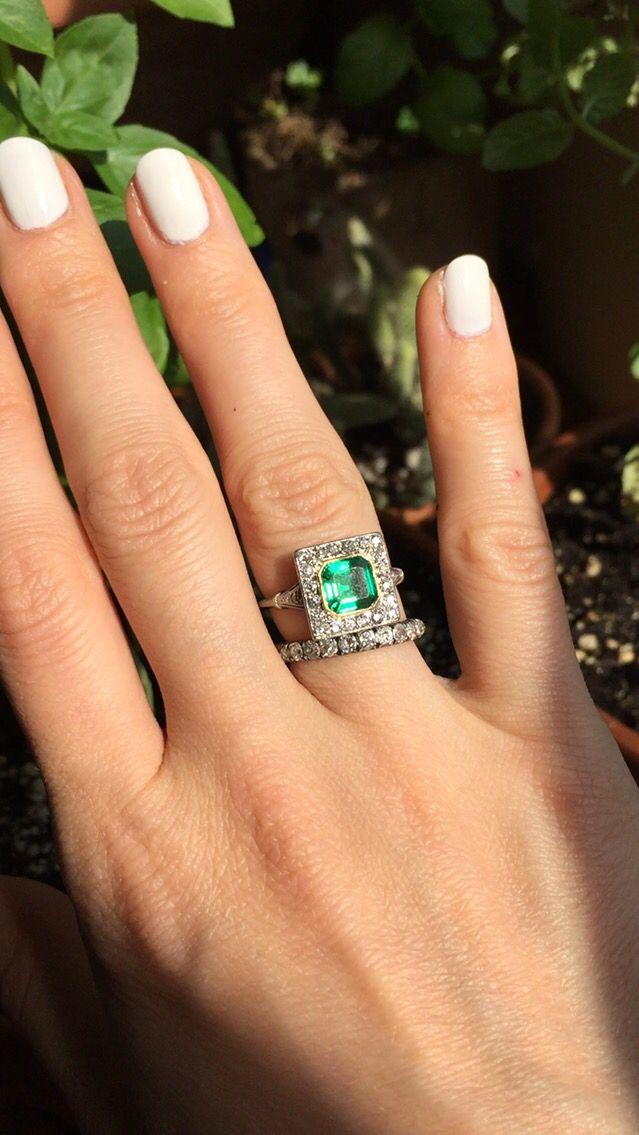 vintage edwardian emerald engagement ring box