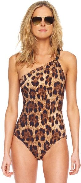 MKors Leopardprint Oneshoulder Maillot Swimsuit ♥✤ | Keep the Glamour | BeStayBeautiful