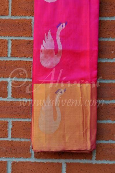 Pink Kuppadam Pure Pattu Saree with Broad Zari Border & Silver Swan/Lotus Motifs all over - Aliveni  - 1