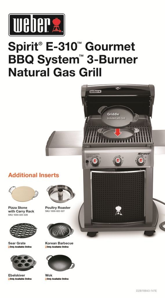 Weber Spirit E 310 3 Burner Natural Gas Grill In Black Featuring The Gourmet Bbq System 47513101 The Home Depot Natural Gas Grill Gas Grill Gourmet Bbq