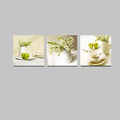 vizuális star®3 panel virágok zöld színű csendélet festővászon fal művészet a konyhai dekoráció készen áll, hogy lefagy 3887956 2016 – $53.99
