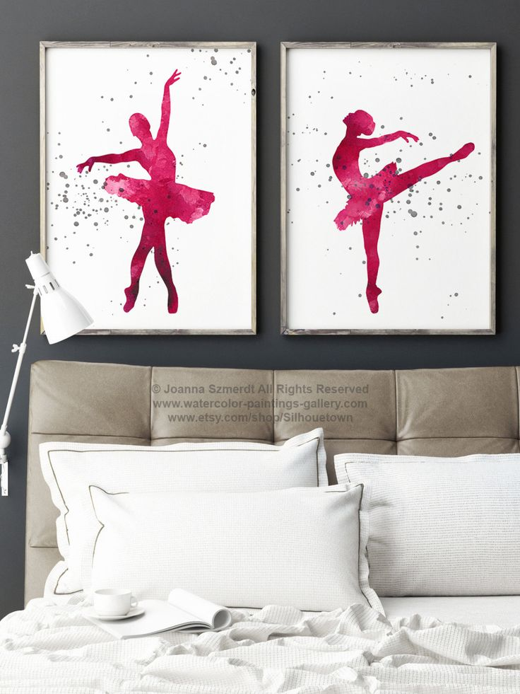Pink Ballerina Set of 2 Giclee Fine Art Print, Baby Girl Room Decor, Ballet Dancer Illustration, Girls Wall Art, Abstract Silhouette Poster by Silhouetown on Etsy