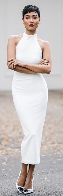 White Halter Pencil Maxi Dress by Micah Gianneli