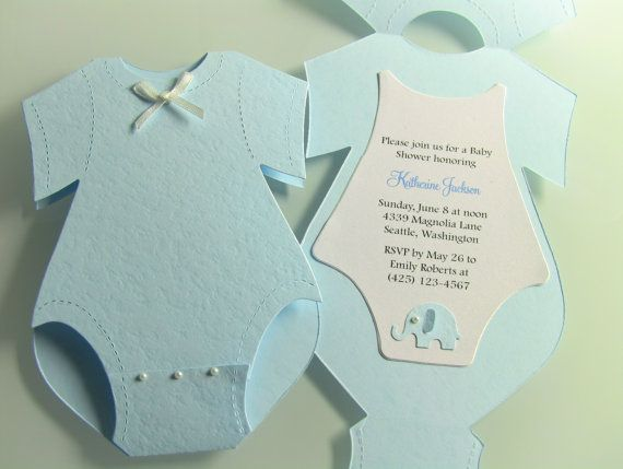 Customize Any Color, 10 Diaper Baby Shower Invitation, Thank You, or Baby Announcement Cards, Baby Boy Blue Elephant