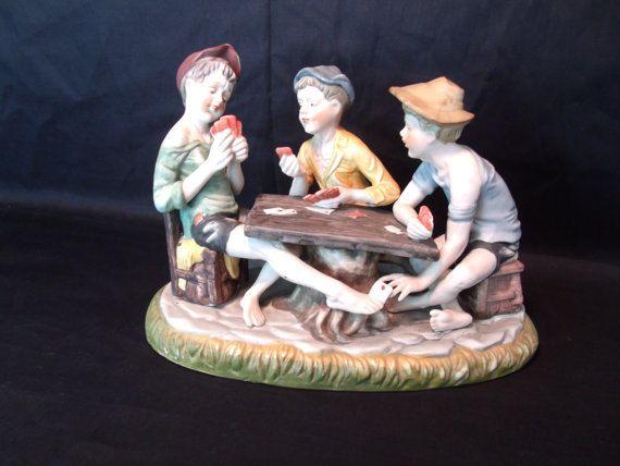 Cheaters Capodimonte Bisque Figurine 3 By Nanasantiqueboutique Poker Face Porcelain Figurine