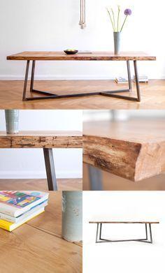 Favorite table legs of all time || NUTSANDWOODS – Oak Steel Table: Built for eternity. Solid oak wood. Steel base. Dining table, live edge slab