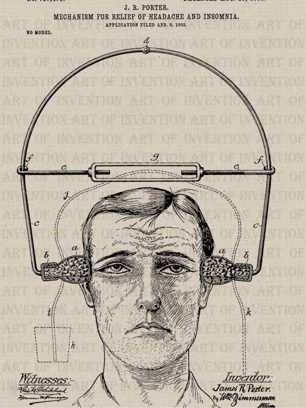 HEADACHE CURE 473,  vintage patent illustration, design drawing, medical device by ArtofInvention on Etsy https://www.etsy.com/listing/234672926/headache-cure-473-vintage-patent