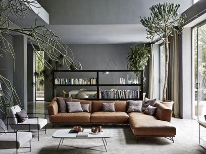 LENNOX | Sofá de esquina | Sofá tapizado de cuero de esquina
