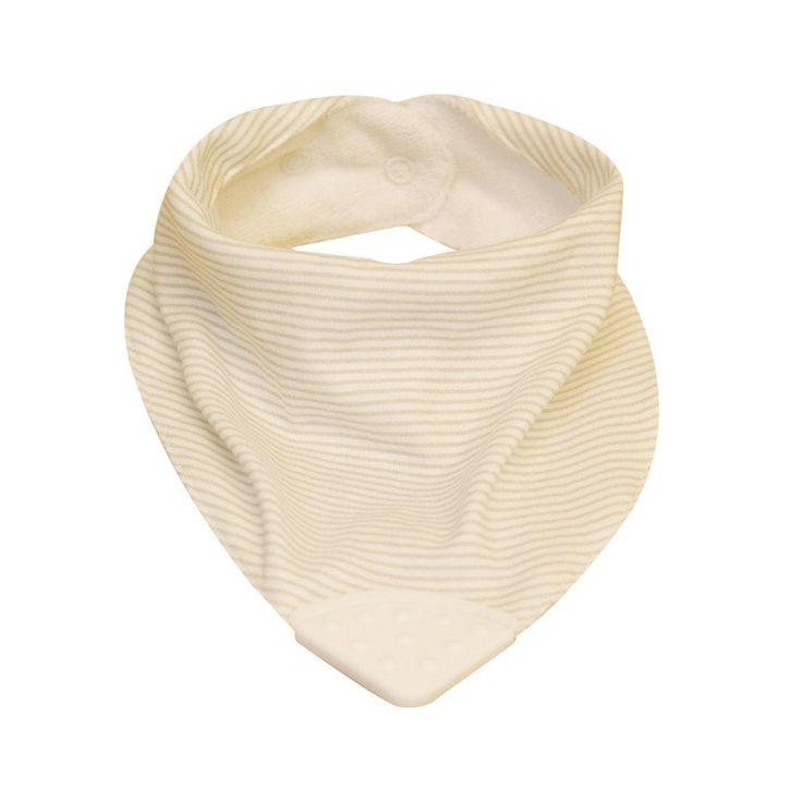 Teether Bib - Stone/White Pinstripe - Clothing - Baby Belle