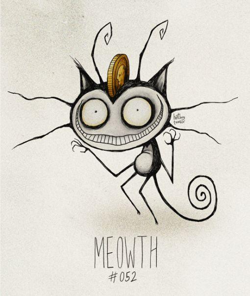 'Tim Burton Pokemon' - By Vaughn Pinpin - Meowth - #052/719.