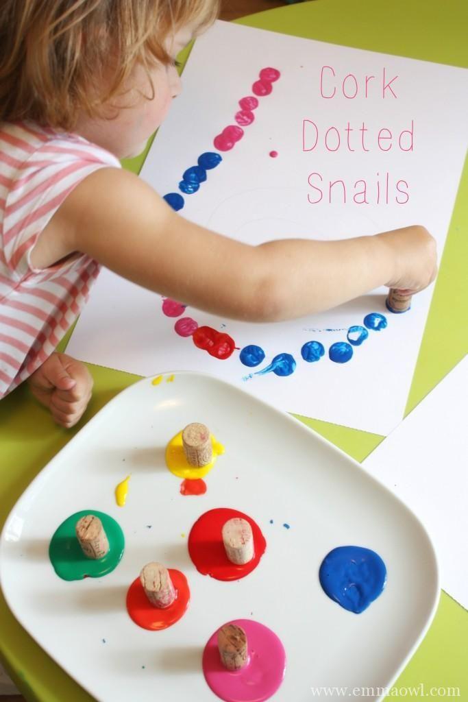 Cork Dotted Snails. Fantastic Spiral Art and Craft activity for children