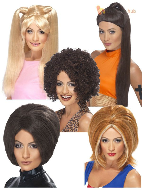 Ladies 90s Baby Posh Ginger Sporty Spice Pop Star Fancy Dress Wig Accessory