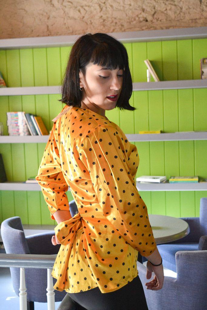 polka dots vintage yellow shirt