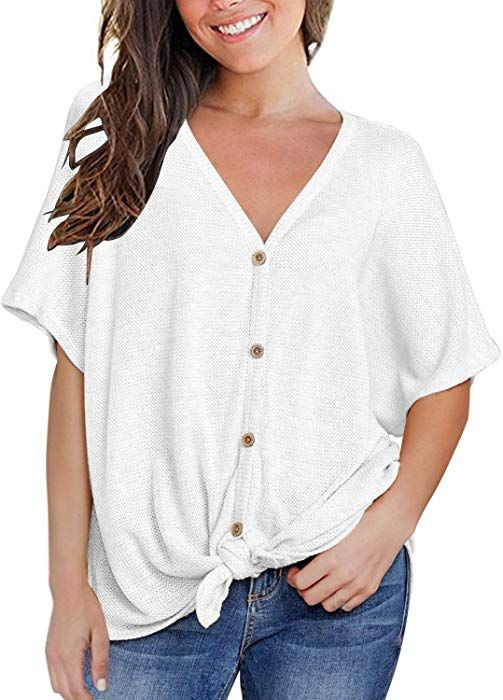 31301cc2bc5 MIHOLL Womens Loose Blouse Short Sleeve V Neck Button Down T Shirts Tie  Front Knot Casual Tops (Small
