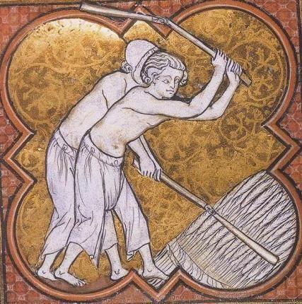 """Creations Costumes - Les Braies - Savoie Médiévale """"le battage du blé"""" Martyrologue de St Germain les Prés entre 1267 et 1279"""