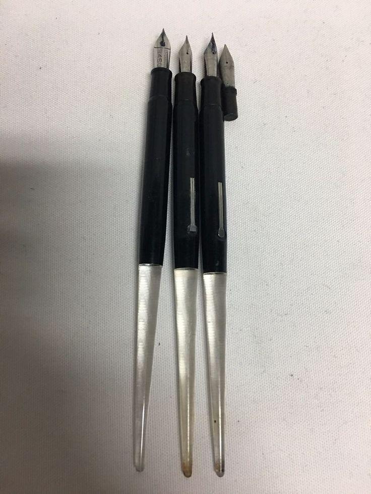 Esterbrook Black Clear Desk Fountain Pens 2556 1550 9450 9668 Lot #5 #Esterbrook