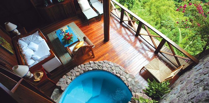 Ladera Resort in St. Lucia. Open air rooms... noice!