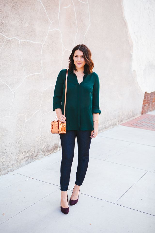 silk blouse and skinny jeans on kendi everyday