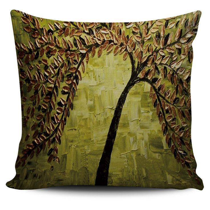 Palette Knife Gold/Black/Olive Tree Print Pillow Cover
