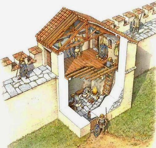 Cut away of a Roman fortress wall.