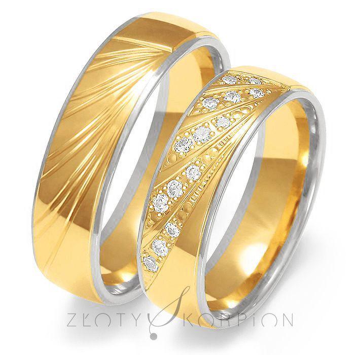Obrączki ślubne dwukolorowe Złoty Skorpion – wzór Au-OE225