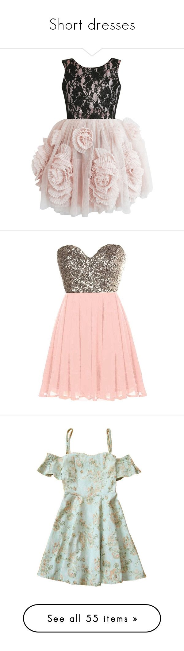 """""""Short dresses"""" by connectedbylove ❤ liked on Polyvore featuring dresses, petite prom dresses, petite lace dress, lace prom dresses, bridal party dresses, petite dresses, sweetheart dress, pink gold dress, pink glitter dress and gold dress"""