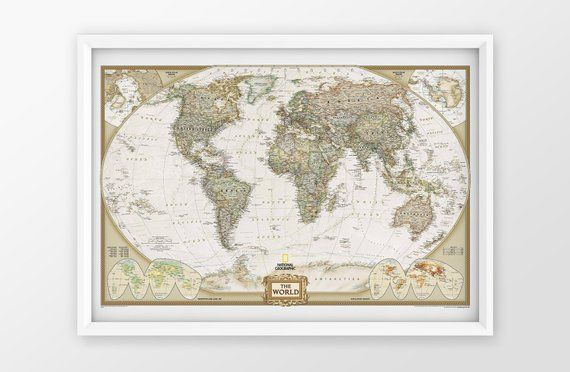 World Map Canvas Print National Geographic Poster Earth Etsy World Map Poster Map Wall Mural Antique World Map Framed map of the world