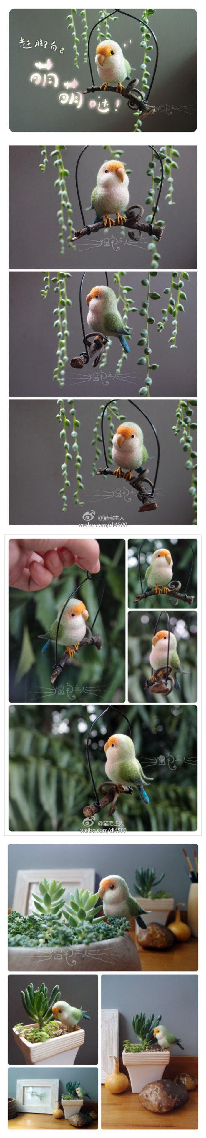 Needle felt parrot