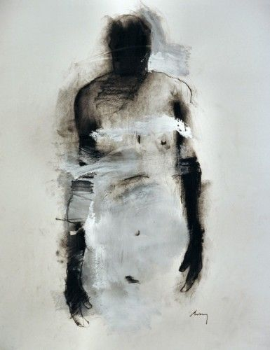 Artist: Harry Paul Ally, charcoal and acrylic {contemporary #expressionist female woman b+w mixed-media grunge drawing} <3 Shame !!