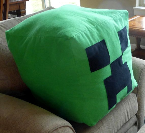 "Giant Huge Minecraft Creeper Inspired Bright Green Flannel Soft Zipper Beanbag Pillow Stuffed Animal 20"" Cube on Etsy, £39.60"